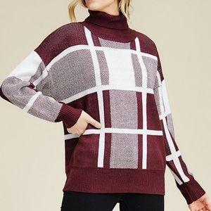 Sweaters - ❣Plum Turtleneck Plaid Sweater❣